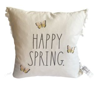 Rae Dunn Happy spring throw pillow square white